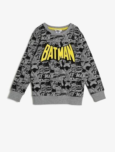 Koton Kids Batman Lisansli Baskili Sweatshirt Gri